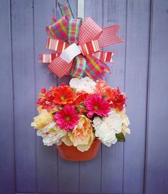 Perfect Mother's Day Gift!  https://www.etsy.com/listing/525049251/peony-floral-basket-door-hanger-coral