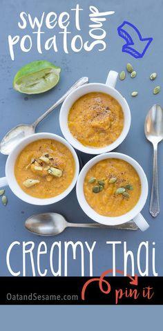 Creamy Thai Sweet Potato Soup - an easy, crowd-pleaser!   vegan, glutenfree ,recipe at http://OatandSesame.com