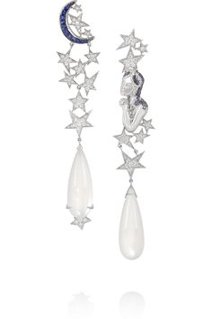 Lydia Courteille - Moon and Star white gold, moonstone, diamond and sapphire earrings Moon Jewelry, Star Jewelry, I Love Jewelry, High Jewelry, Jewelry Art, Fashion Jewelry, Jewelry Design, Sapphire Jewelry, Sapphire Earrings