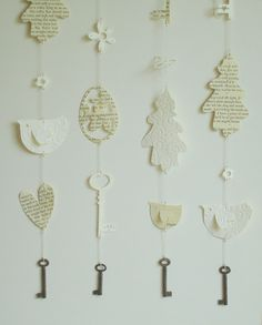 papercuts with Antique key weights