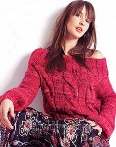 Красный пуловер с косами, вязаный спицами