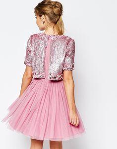 Buy ASOS SALON Crystal Crop Top Tutu Netted Mini Skater Dress at ASOS. Get the latest trends with ASOS now. Crop Dress, Mini Skater Dress, Glitter Outfit, Hijab Evening Dress, Robes Tutu, Short Dresses, Girls Dresses, Crystal Dress, Collection Couture