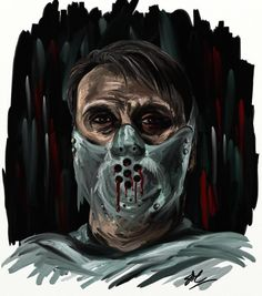 cannibalhouse: The Devil Himself, Bound in the Pit. Another quick piece of Hannibal art. I love the face mask, sue me. We simply cannot mask our feelings for this fandom. Nbc Hannibal, Hannibal Lecter, Devil, Joker, Fandoms, Fan Art, Feelings, My Love, Face