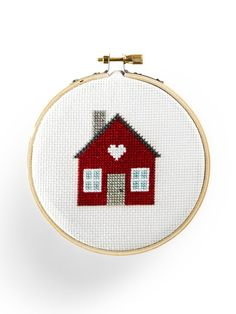 Free cross-stitch house pattern from CountryLiving.com