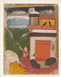 1640-50 miniature ink watercolor on paper. N. India. The figure type and color palette are distinctly Marwari, while the flattened architecture and color fields are characteristics shared with Malwa painting. Peacocks cry at the threat of rain, the nayika (hindu heroine) thinking that the peacocks' cry comes from hunger, offers food. Madhumadhavai Ragini (Garland of Musical Modes); Ragamala