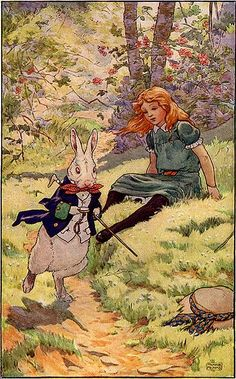 Alice and the White Rabbit - Frank Adams Alice In Wonderland Illustrations, Alice In Wonderland Book, Adventures In Wonderland, Alice Liddell, Lewis Carroll, Inspiration Artistique, Chesire Cat, Alice Madness, White Rabbits