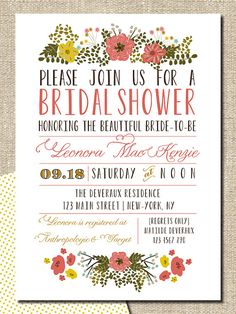 bridal shower invitation DIY printable by lepoetikstudio on Etsy, $18.00