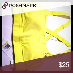SALE! NWT Under Amour sports bra ON SALE! 2 days only! Neon yellow Under Armour sports bra with cross back, adjustable straps. Padded with medium impact support (good for walking/jogging). Never worn, tags still attached (it was the wrong size). Under Armour Intimates & Sleepwear Bras
