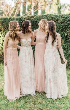 Blush + Print Group by Jenny Yoo {left to right: Ivy, Nyla, Leighton, Inesse}