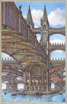 Fantasy City, Fantasy Places, Sci Fi Fantasy, Fantasy World, Art Et Architecture, Ancient Architecture, Beautiful Architecture, Historical Architecture, Arte Cyberpunk