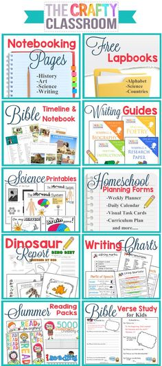Free Homeschool Printables and Teaching Resources. There is so much here on this website!! Bible Timeline, Writing Guides for Kids, Homeschool Planning Forms, Free Notebooking Pages, Free Lapbooks, Writing Charts....Huge Resource!! www.TheCraftyClassroom.com