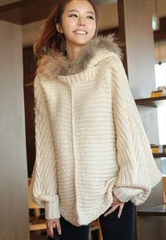 Loose-Fitting Hooded Solid Color Texture Stripe Cloak Design