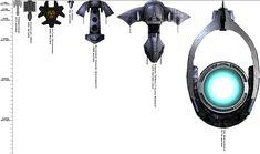 """Stargate SG1 scale of ships - left to right: Prometheus, Daedalus, Ha'tak, Al'kesh, Beliskner, Asgard """"O'Neill"""" class warship, Ori Mothership"""