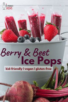 A cool, nutritious treat to beat the heat. Berry and Beet Ice Pops are kid-friendly, vegan, and gluten-free. No added sugar or dyes! Ice Pop Recipes, Beet Recipes, Popsicle Recipes, Healthy Recipes, Party Recipes, Cream Recipes, Delicious Recipes, Vegetarian Recipes, Snack Recipes