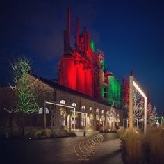 SteelStacks in Bethlehem in Christmas colors www.DiscoverLehighValley.com