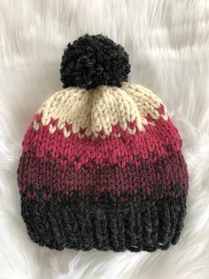 Three different color shades Knit Hat with Pom Pom   Slouchy Fair Isle Hat    Handmade Knit Hat  bc4698dfa5dd