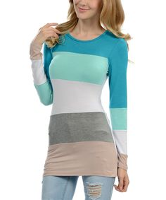 Love this Mint & Turquoise Color Block Scoop Neck Top by Magic Fit on #zulily! #zulilyfinds