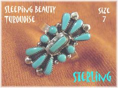 Sleeping Beauty Blue Turquoise - Sterling Silver Zuni Petit Point Native American Ring - Arizona Silversmith - Gift Box - FREE SHIPPING by FindMeTreasures on Etsy