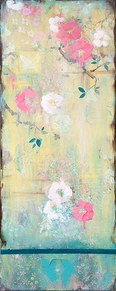 "Kathe Fraga paintings: ""Garden Love Song"", 40x16 on frescoed canvas. Inspired by vintage Paris and Chinoiserie ancienne. www.kathefraga.com"