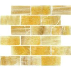 12 in. x 12 in. Honey Natural Stone Onyx Subway Mesh-Mounted Mosaic Tile-SMOT-BRICK-HO8MM at The Home Depot • this is quite beautiful-- does it work for floors?