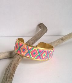 Bracelet, Manchette, Bijou tissé, Perles Miyuki, Multicolore, Tissage Peyote