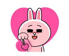 LINE Official Stickers - Brown & Cony Heart Melting Romance Example with GIF Animation Cute Couple Cartoon, Cute Love Cartoons, Polar Bear Cartoon, Cartoon Art, Cute Stickers, Bumper Stickers, Line Cony, Bear Gif, Cony Brown