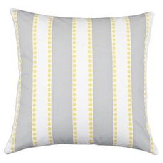 "Bring contemporary flair to your home with this eye-catching design, artfully crafted for lasting appeal.   Product: PillowConstruction Material: Cotton and polyester fillColor: Gray, white and yellowFeatures: Zippered closureInsert included Dimensions: 17"" x 17""Cleaning and Care: Machine washable"