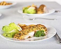 Paleo Macadamia Crusted Halibut. Ingredients: halibut, oranges, orange zest, coconut milk, sea salt, olive oil, egg, macadamia nuts, parsley, black pepper
