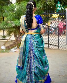 South Indian bride in blue kanjeevaram saree Wedding Saree Blouse Designs, Pattu Saree Blouse Designs, Half Saree Designs, Fancy Blouse Designs, Wedding Sarees, Lehenga Saree Design, Half Saree Lehenga, Lehenga Designs, Sari
