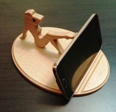 Wooden phone holder lady / Wooden phone stand by WoodDecorTM