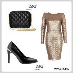 Złoto to najbardziej pożądany kolor w karnawałowych stylizacjach! Ze złotą cekinową sukienką doskonale komponują się eleganckie czółenka Wojas (4405-51). Całość uzupełnia czarna pikowana torebka Wojas (4902-51) zdobiona złotymi detalami.