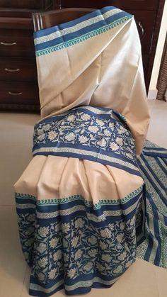Soft Silk Sarees, Cotton Saree, Saree Blouse, Sari, Kasavu Saree, Block Print Saree, Cream Colour, Madhubani Painting, Bindi