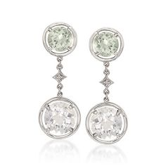 3.00 ct. t.w. Green Quartz and Rock Crystal Drop Earrings in Sterling Silver