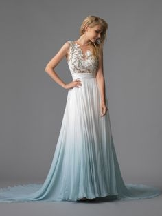 Head Over Heels In Love With This Ombre Dip Dye Watercolour Blue Coloured Wedding Dress