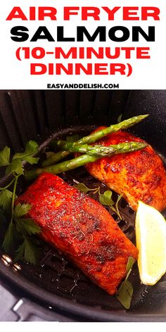 Cook this Quick Air Fryer Salmon in just 10 minutes for a busy weeknight dinner! Dinner Recipes Easy Quick, Vegetarian Recipes Dinner, Quick Easy Meals, Easy Recipes, Halibut Recipes, Seafood Recipes, Creamy Pasta Bake, Roasted Carrots And Parsnips, Fried Salmon
