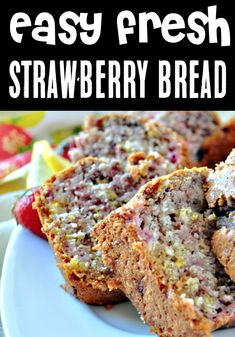 Fresh Strawberry Bread Recipe: Easy Quick Bread! This easy Fresh Strawberry Bread Recipe with a hint of lemon zest comes together quickly and will become a new Summer favorite! Go grab the recipe and give it a try this week! Easy Summer Desserts, Easy Summer Meals, Summer Dessert Recipes, Quick Easy Meals, Brunch Recipes, Drink Recipes, Best Pumpkin Bread Recipe, Tasty Bread Recipe, Easy Banana Bread