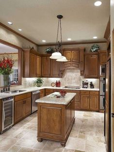 Supreme Kitchen Remodeling Choosing Your New Kitchen Countertops Ideas. Mind Blowing Kitchen Remodeling Choosing Your New Kitchen Countertops Ideas. Oak Kitchen Cabinets, Kitchen Redo, Kitchen Tiles, Kitchen Colors, Rustic Kitchen, Kitchen Countertops, New Kitchen, Floors Kitchen, Dark Counters