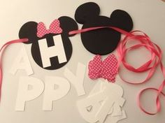 Do It Yourself and Save $ with this DIY Kit Minnie Mouse Ears with either Pink or Red Bow Happy Birthday Banner. With a little glue and an hour, you can say I made it myself ! Custom Name Option: Add a Custom Name by choosing the number of Letters in the name from the drop down menu above, then WRITE THE NAME in the Notes to Seller section at checkout. Basic Kit includes: > 13 Mouse Ears 5 wide x 4 1/2 tall > 13 Bows > White 2 Letters that spell HAPPY BIRTHDAY > Ribbon to hang banner: 2…