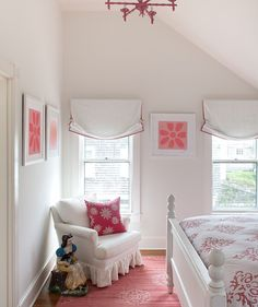Lovely girl's room seen on RealSimple.... Now, just imagine switching out the bedspread, pillow cover and art prints to mint green or a pale, buttery yellow: An entirely new new look (in minutes)!