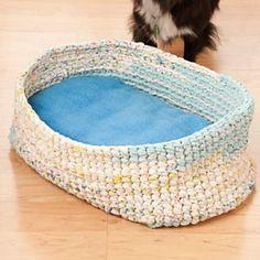 Pet Bed crocheted from old sheets: Sweet Dreams Pet Bed pattern by Wanda Jean Mayhall Crochet World Oct 2011