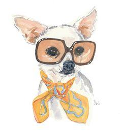 Chihuahua Print Dog Watercolor  Dog Painting Vintage