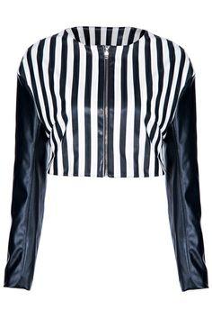 ROMWE Long-sleeved Black & White Striped Vinyl Jacket