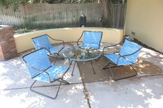 Brown Jordan Kailua Vintage set sold to Claremont customer. Custom CFR Patio side table manufactured to match the chairs color scheme. Very retro!