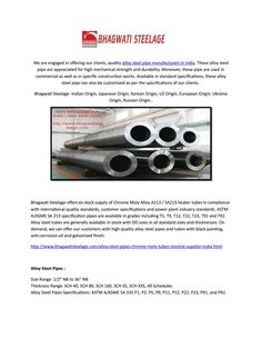 Alloy steel pipes manufacturers in india