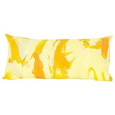 Preowned Yellow Two Hue Hand-painted Canvas Rectangle Pillow ($225) ❤ liked on Polyvore featuring home, home decor, throw pillows, yellow, rectangular pillow inserts, yellow toss pillows, abstract throw pillows, rectangle throw pillow and yellow home decor