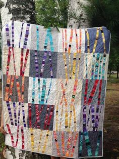Modern Birches Baby Quilt - - Quilt outside the box and create imaginative blocks that look a lot harder than they really are, with the modern design sensibility of Jacquie Gering. Modern Quilting Designs, Modern Quilt Patterns, Quilt Patterns Free, Quilt Designs, Quilt Baby, Nine Patch, Stars Hollow, Twinkle Twinkle Little Star, Vintage Star