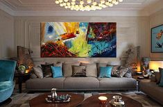 Colorful Painting extra large Abstract paintings Red Blue art Modern Wall Artwork oversize canvas painting