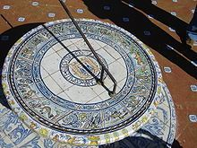 A 20th-century sundial in Seville, Andalusia, Spain