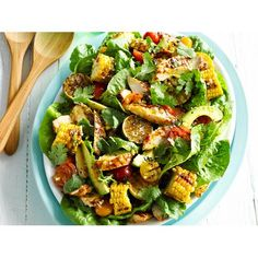 Sweet chilli chicken and corn salad recipe - By Australian Table Deviled Sausages, Crumb Recipe, Salad Places, Lamb Burgers, Sweet Chilli Sauce, Corn Salads, Potluck Recipes, Food Platters, Summer Salads