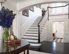Staircase Ideas - Stairs facing away from the front door so its not the first thing you see when you walk in the door